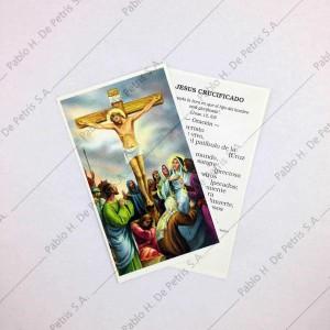 Estampa Jesús crucificado con gente